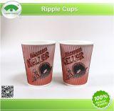 Tazas de papel del café de Happypack, tazas de la pared de la ondulación, tazas de papel de Kraft