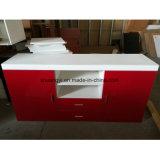 Gabinete de madeira UV lustroso elevado da tevê do painel da cor vermelha