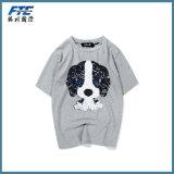 T-shirt feito sob encomenda do algodão da camisa de polo da alta qualidade com garganta redonda