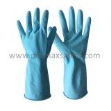 Flocked голубая перчатка латекса домочадца