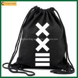 Просто мешок Backpack Drawstring хлопка мешка школы органический черный (TP-dB264)
