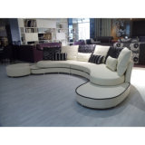 Sofá de couro preto e branco de design de sofá de rodada mais recente 8023