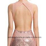 Vestido elegante Backless do baile de finalistas do partido de noite do laço do Sequin da sereia das mulheres