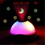 Pulso de disparo colorido de incandescência da projeção do despertador de Digitas da mudança da cor do diodo emissor de luz do projetor do pulso de disparo do diodo emissor de luz da estrela da lua