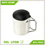Doble pared de acero inoxidable taza de viaje Taza de café con tapa y mango plegable