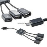 3 in 1 Micro- USB Hub, Mannetje aan de Vrouwelijke USB Adapter van de Hub OTG