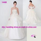 Роскошное разработанное венчание платья мантий Organza с поездом суда