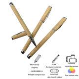 Pluma dual de la aguja del metal del bolígrafo de madera para el equipo del panel de tacto
