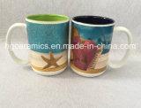 tazza di ceramica con stampa di marchio di scintillio, tazza brillante di tono 15oz due di stampa di marchio