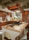 Compartiments personnalisés modulaires de cuisine en bois solide de modèle de couleur en bois foncée