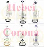 Stocks en verre de pipe de cendrier de métier de tube de qualité de Borosilicate de percolateur de couleur de rose grand droit de cuvette pour la conduite d'eau en verre