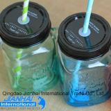 Frasco de vidro colorido transparente de frasco de pedreiro para beber