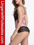 Chemises de nuit de barboteuse de lingerie de nounours de Lace&Mesh de rapiéçage de la bretelle des femmes sexy