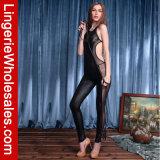 Комбинезон сексуальной черной кожаный сетки женщин Backless Strappy
