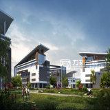 Rendição arquitectónica exterior da escola internacional com estilo moderno