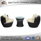 Furnir健康なT-040のPEは紫外線に3部分の藤の柳細工の屋外のスタッキングのテラスの椅子表セット抵抗する