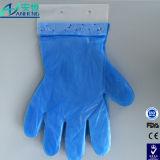 Luva azul descartável do HDPE com embalagem do cartão de encabeçamento