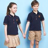 L'uniforme scolaire court de gosses de bonne qualité de chemise d'été conçoit le plus tard la chemise de polo