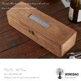 Hongdao Caja de madera hecha a mano del color natural con la tapa de cristal Caja de madera barata para la venta _E