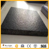 G684黒の敷石の花こう岩の壁のタイル、革表面が付いている花こう岩のタイル