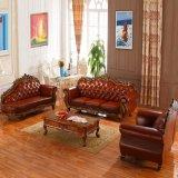Ledernes Sofa mit hölzernem Sofa-Rahmen und Seiten-Tisch (D929F)