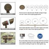 Angle de faisceau et pouvoir réglables imperméables à l'eau extérieurs en laiton DEL Downlight pour l'horizontal