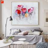 Aquarell-Tulpe-und Lilien-Segeltuch-Ölgemälde