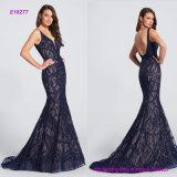 Безрукавный Рук-Beaded платье вечера Mermaid шнурка с характеристиками изогнуло глубокий V-Neckline и низкий уровень зачерпнутые назад