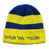 黒い縞(JRK151)が付いている青いフランジを付けたようになる編まれた帽子