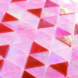 ハイエンド背景の壁の装飾はピンクのステンドグラスのモザイクをタイルを張る