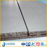el panel de aluminio del panal de la capa de madera blanca del grano de 15m m