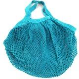 Petit sac à provisions vert clair de maille de réseau de coton de MOQ Wholesal