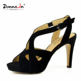 Lady Casual Suede Leather High Heels Platform Mulher sandálias sapatos