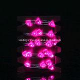 батарея 4m освещала 40 сердца пинка провода СИД микро- серебряного Fairy