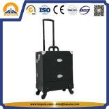 Cassa professionale del carrello di bellezza di trucco dello studio di alluminio di caso con la rotella universale (HB-6343)