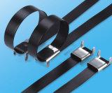 Tipo cubierto PVC lazo del ala de la atadura de cables del acero inoxidable del cierre relámpago