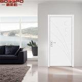 Entrée principale blanche de pièce en bois simple faite sur commande de teck (GSP2-110)