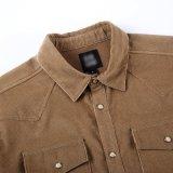 Camisa do `S dos homens do veludo de algodão de Brown