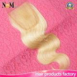 Бразильское белокурое закрытие волос девственницы человеческих волос 613 высокого качества цвета шнурка
