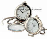 Reloj Pocket de la apertura del viento mecánico dual de la mano goldtone