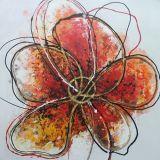 추상적인 화포 색칠은 간단한 빨간 꽃 화포에 Handmade 유화를 디자인한다