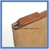 Ankunftsverspätung-neuer materieller Pont-Papierhandtaschen-/Mappen-Beutel, kundenspezifische Förderung umweltfreundlicher Tyvek kosmetischer Papierbeutel mit Reißverschluss