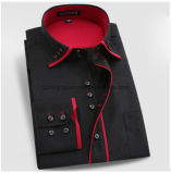 Camisa recta de la funda larga de los hombres del algodón