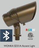 遠隔RGBW 12Vは景色のビーム角の調節可能な真鍮のスポットライトを防水する