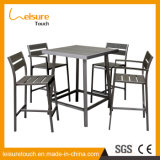 وقت فراغ حديثة ألومنيوم طاولة بيع بالجملة خارجيّة بلاستيكيّة خشبيّة قضيب كرسي تثبيت مجموعة