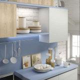 熱い販売の青いラッカーおよび木製の線形食器棚