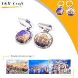 Specchio cosmetico del metallo popolare con il sacchetto di cuoio dell'unità di elaborazione (H08040)