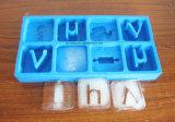 Personalizada de la categoría alimenticia de la cavidad 8 de letra del alfabeto silicón de la forma máquina de hielo, hielo del silicón de la bandeja del cubo
