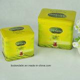 Изготовленный на заказ прямоугольный комплект коробки олова зеленого чая желтого металла упаковывая