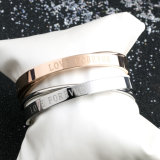 Mulheres moda New Rose Gold Bracelet Stainless Steel Double Bangles